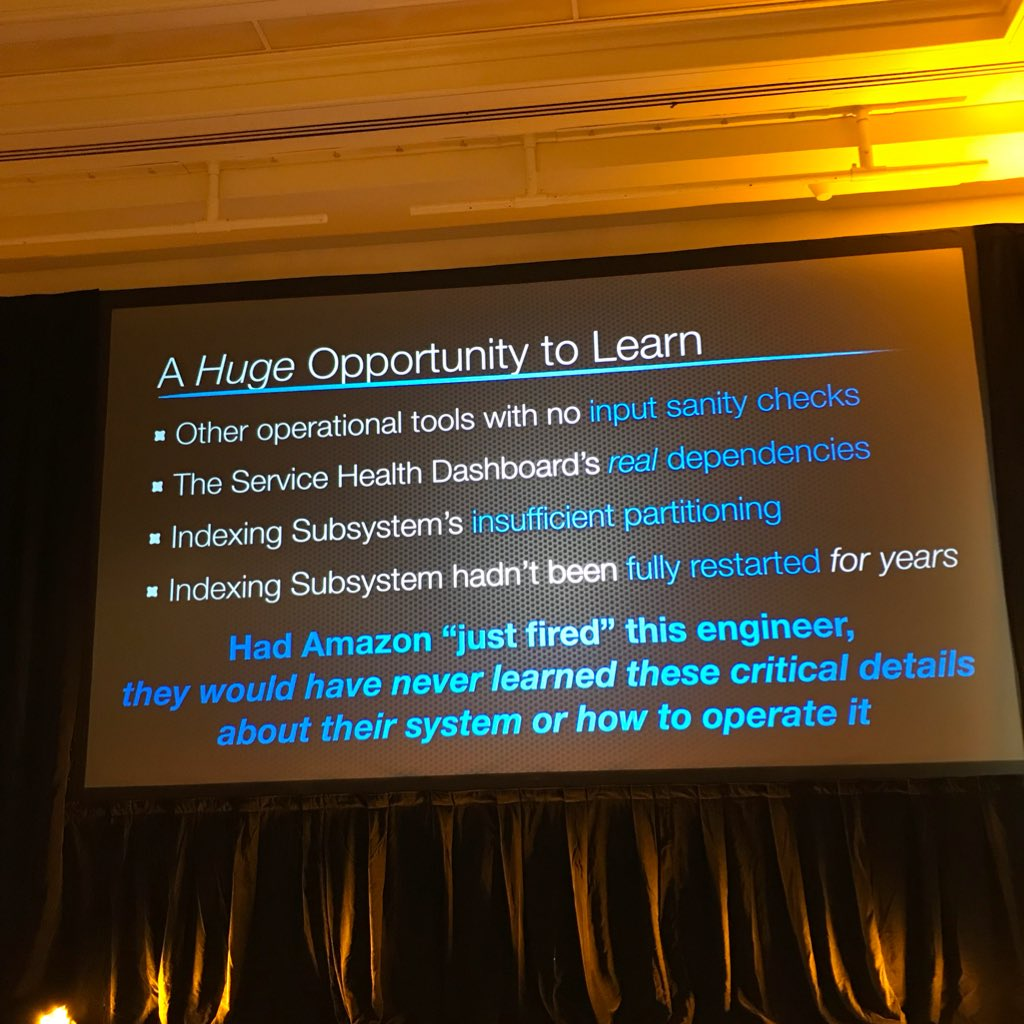 @jpaulreed Lessons Amazon learned from S3 outage @jpaulreed #puppetconf https://t.co/BuI9vX836c