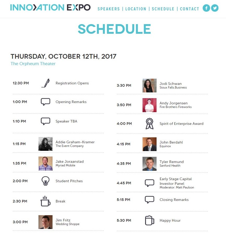 Attending @InnoExpo tomorrow? Here&#39;s digital copy of the schedule!    #innoExpo #business #startup #entrepreneur #founder #buildyourbusiness <br>http://pic.twitter.com/U6RXFgkO5b