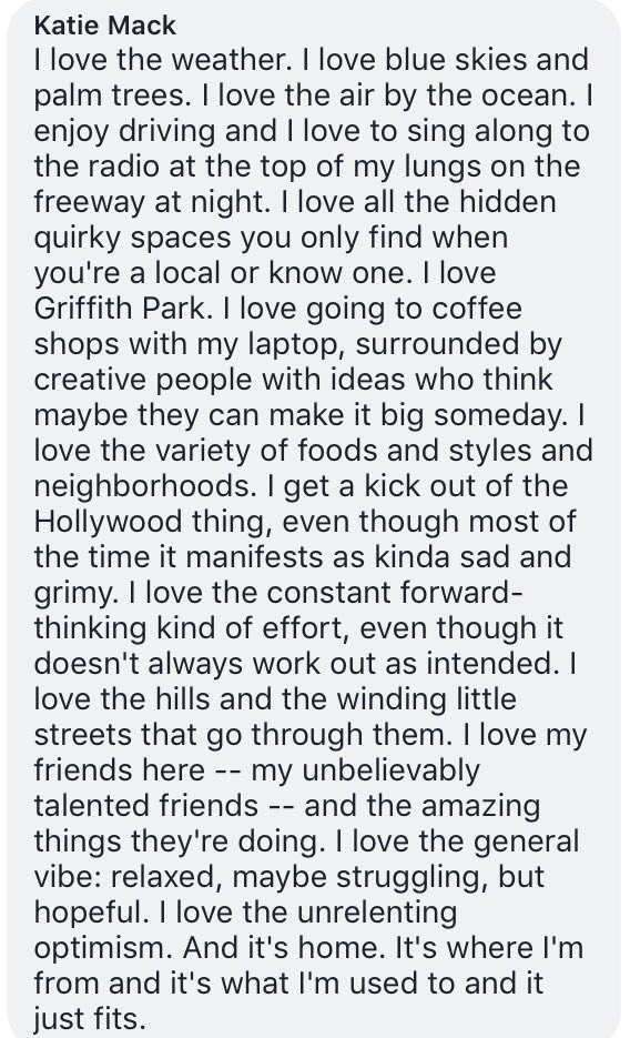 One of my Facebook friends asked me how I could possibly enjoy living in LA. https://t.co/flwUnUGGZA