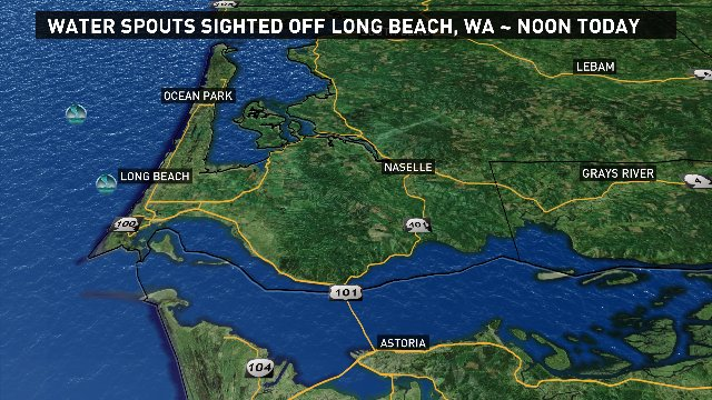 Several water spouts were spotted off the Long Beach Peninsula ~ noon. More t-storms possible.  #pdxtst @kgwnews<br>http://pic.twitter.com/vlMVYPyRe1