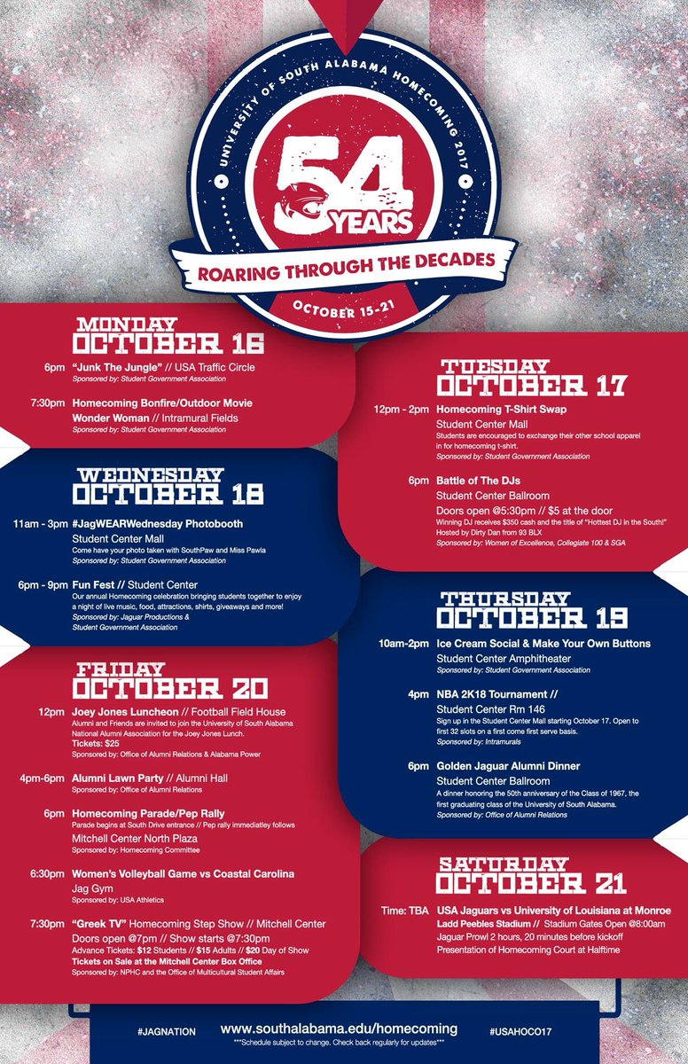 Homecoming 2017 Schedule!#WeAreSouth #JagNation #GoJags #USAHOCO17  #USA17 #USA18 #USA19 #USA20 #USA21<br>http://pic.twitter.com/fkhMFVobln