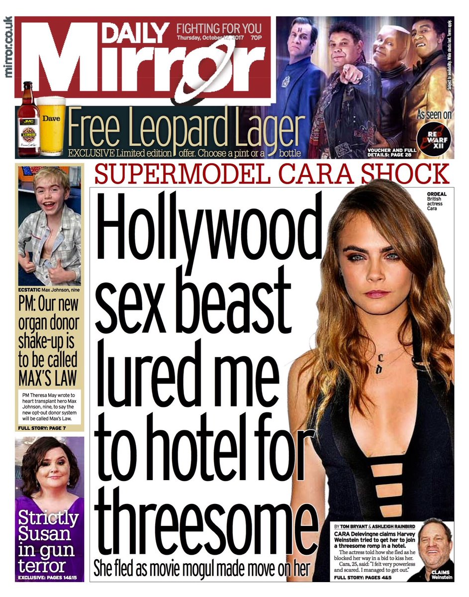 """Thursday's Daily MIRROR: """"Hollywood sex beast lured me to hotel for threesome"""" #bbcpapers #tomorrowspaperstoday https://t.co/EFpy3moIXJ"""