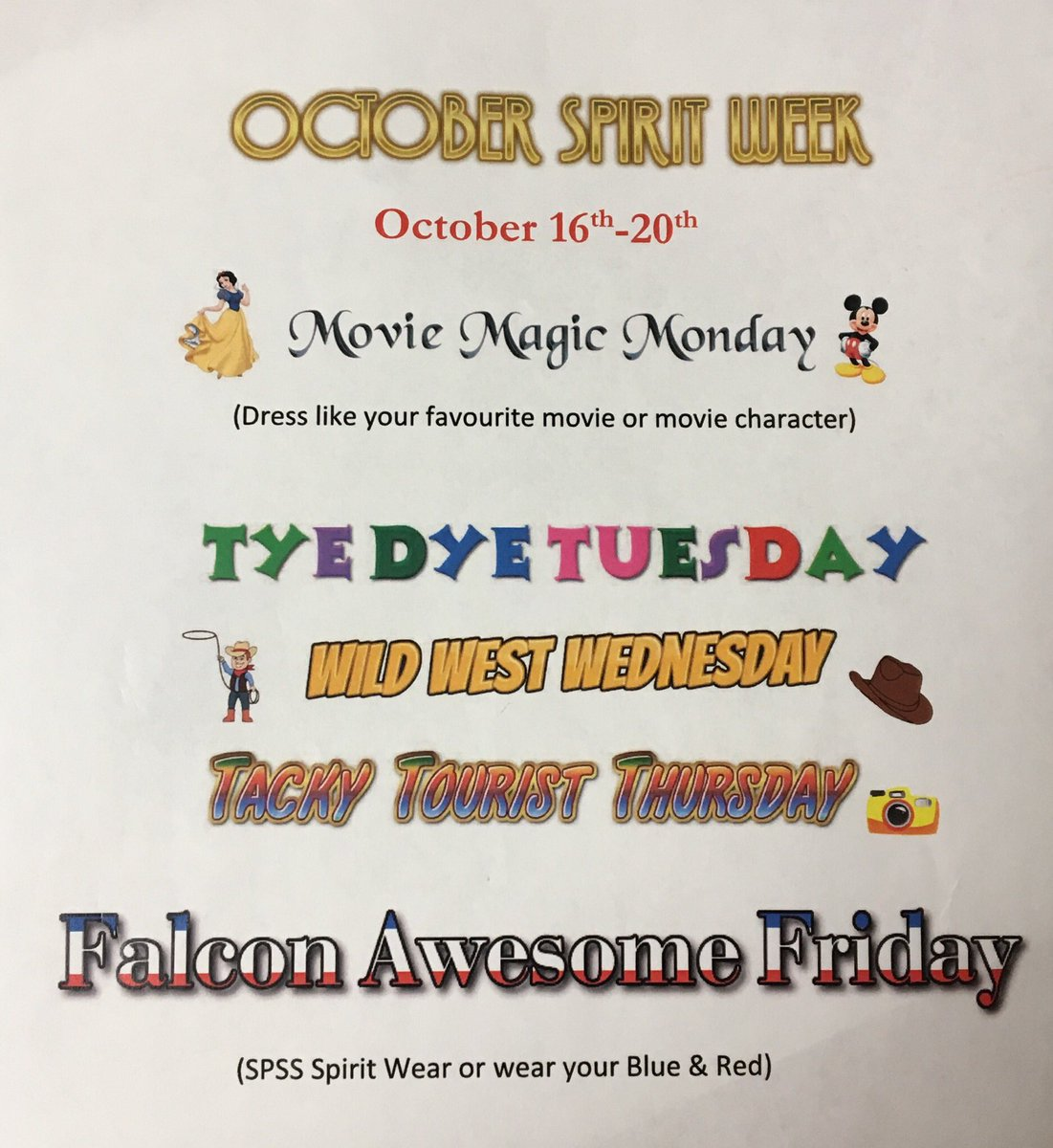 Spcss Falcons On Twitter Our Spirit Week Themes For Next Week