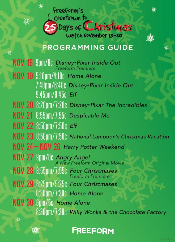 25 Days Of Christmas Schedule.25 Days Of Christmas On Twitter Here S The Countdown To