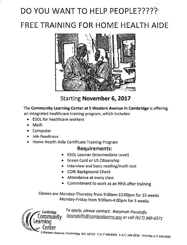 Somerville Scale On Twitter Free Home Health Aide Training At The