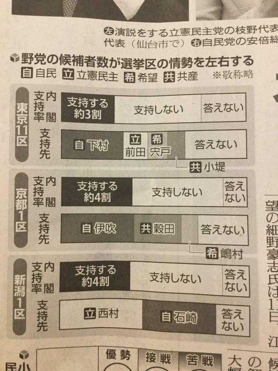 読売新聞の世論調査分析。内閣を「支持しない」人が多い選挙区も、複数の野党候補に票が分散して自民党候補…