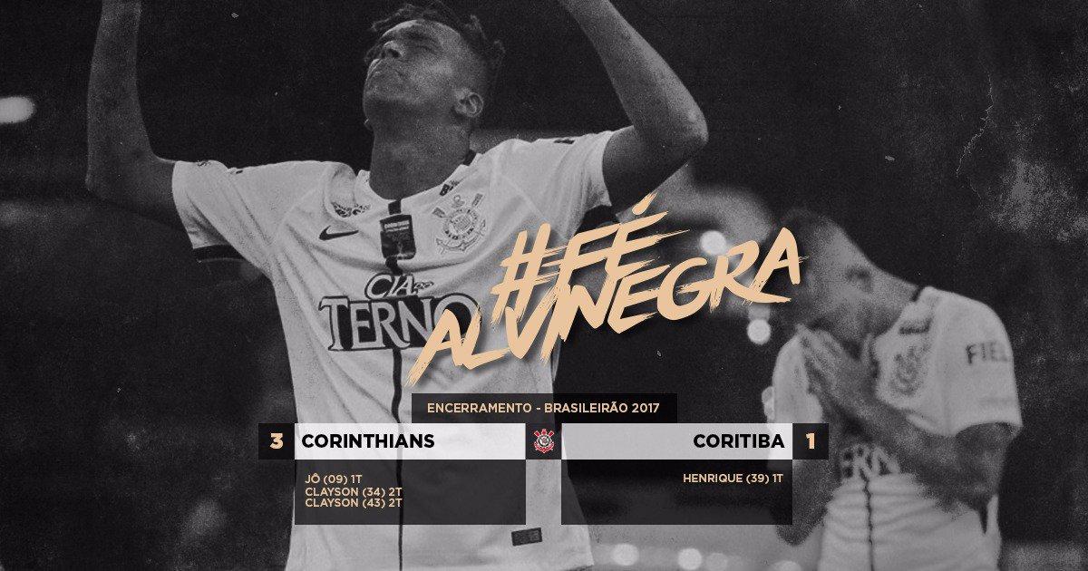 #FéAlvinegra  Corinthiano acredita até o fim. Nos últimos minutos, Timão faz 3 a 1 no Coritiba e se mantém firme na liderança do Brasileirão