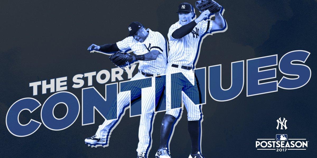 #StartSpreadingTheNews, WE'RE ALCS BOUND!  Final: Yankees 5, Cleveland...