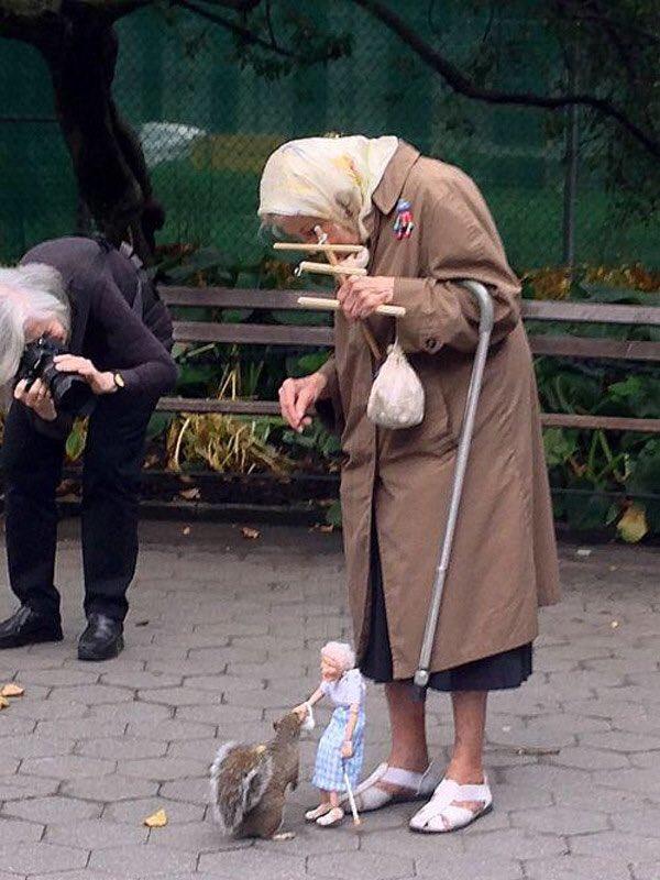 操り人形を使ってリスに餌をあげるおばあちゃんが可愛すぎる