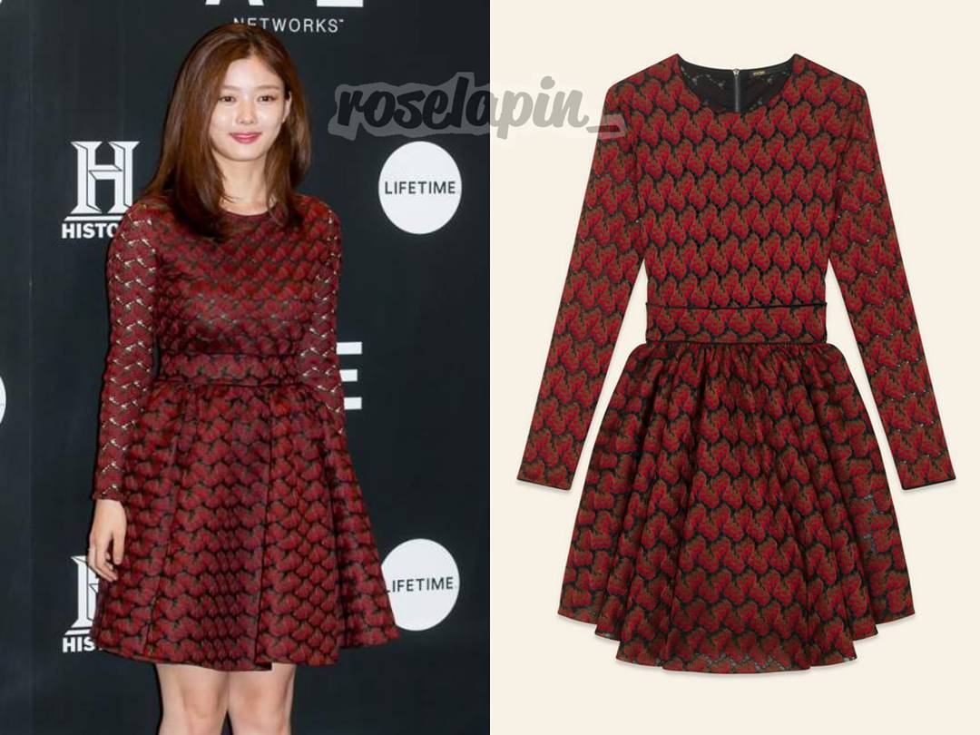 171012: her pretty dress today at A&amp;E launching event from  #Maje lace dress $495  #KimYoojung #김유정  Cr. Watermarked<br>http://pic.twitter.com/J4dvmSUFDm