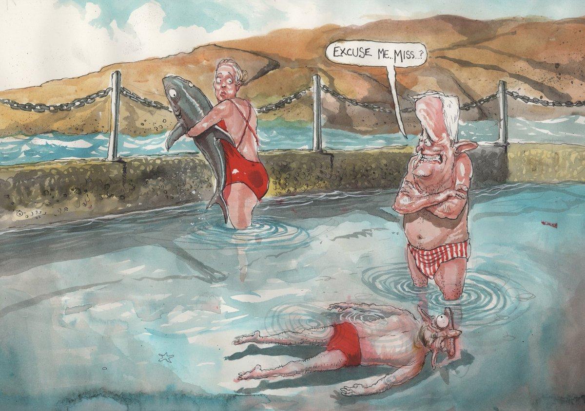 Beware the sharks. @roweafr's latest cartoon. For more: https://t.co/k6n0SdydCH  #auspol https://t.co/4fCbb7TErv
