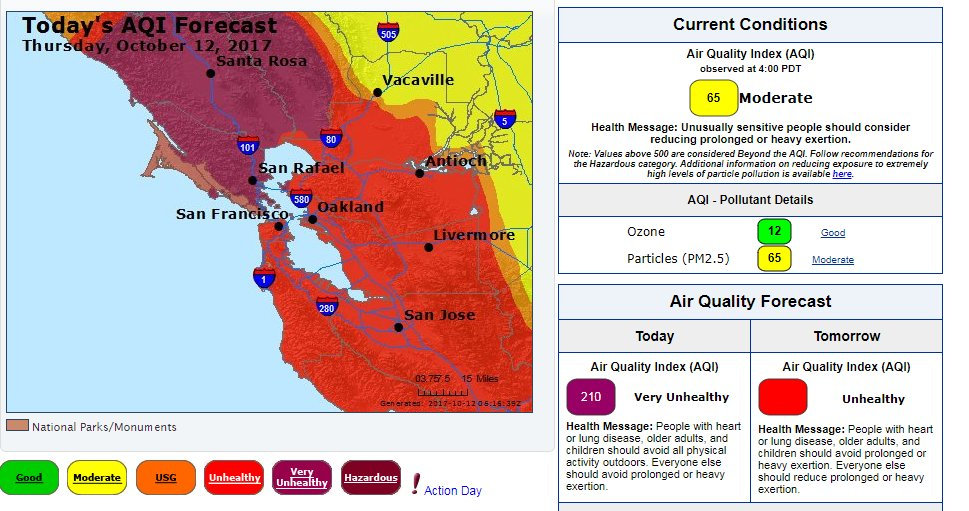 Todays air quality forecast by AirNow. For more visit https://t.co/OGyG2ptlfS #NorthBayFires #CAwx