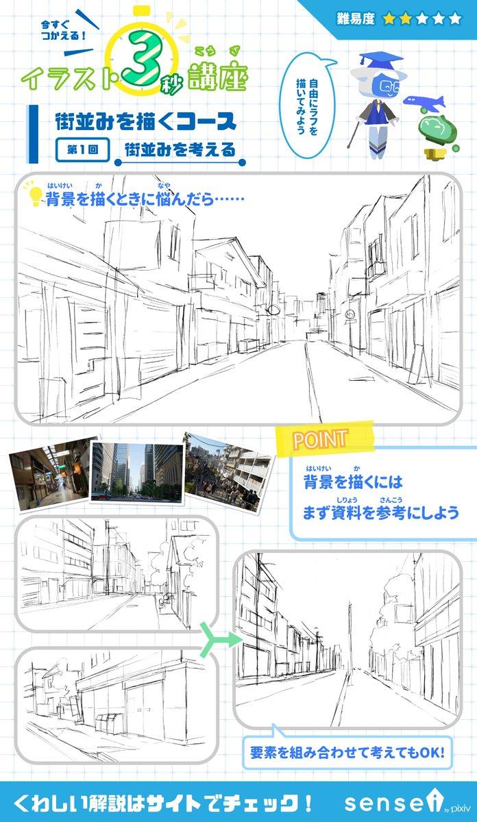 "pixiv描き方 - sensei on twitter: ""とりかかりにくい背景。まずは資料"
