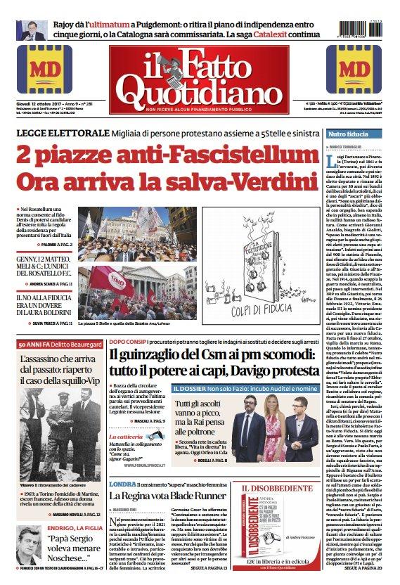 LA PRIMA PAGINA DI OGGI #FattoQuotidiano...
