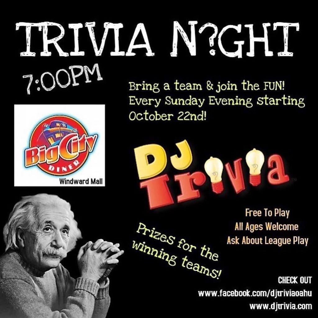 "Join us at 5:30 pm. SUNDAY NIGHT for our New DJ ""TRIVIA NIGHT"" at @BigCityDiner at @WindwardMall … #TriviaNight #DateNight #FamilyFun #Dinner #Hawaii #BigCityDiner #WindwardMall #Aloha #DjTriviaNight"