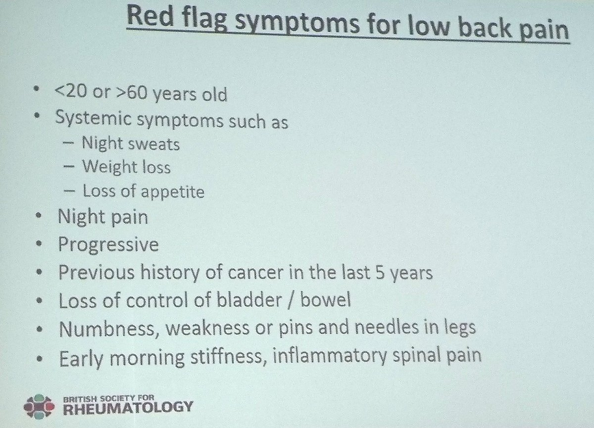 Red flag symptoms to watch out for in low back pain via Dr Nick Shenker #BSRaut17 #lowbackpain #backpain #pain #medical #rheumedu <br>http://pic.twitter.com/mC53STDSFG