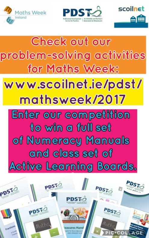 PSDT Numeracy Competition for Maths Week - Solve the Problem-Solving Activities and Enter Here -&gt;  https://www. scoilnet.ie/pdst/mathsweek /2017/ &nbsp; …  #mathsweek #maths <br>http://pic.twitter.com/No9dsatzGG
