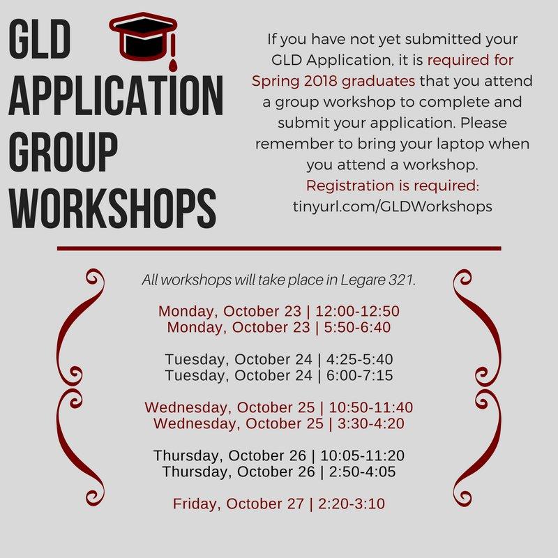 Graduating in Spring &#39;18? Make sure to register for an upcoming #GLD Group Application Advising Session! Register at  http:// tinyurl.com/GLDWorkshops  &nbsp;   <br>http://pic.twitter.com/SAZ122krbf