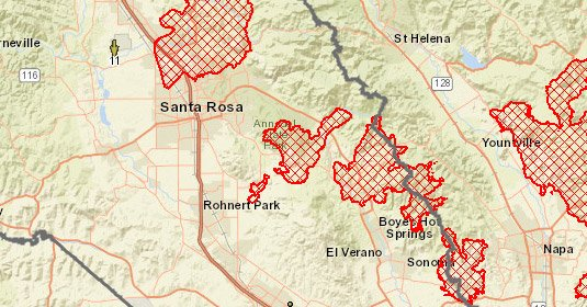 County Of Sonoma On Twitter Update To The Tubbs Nuns Fire Map