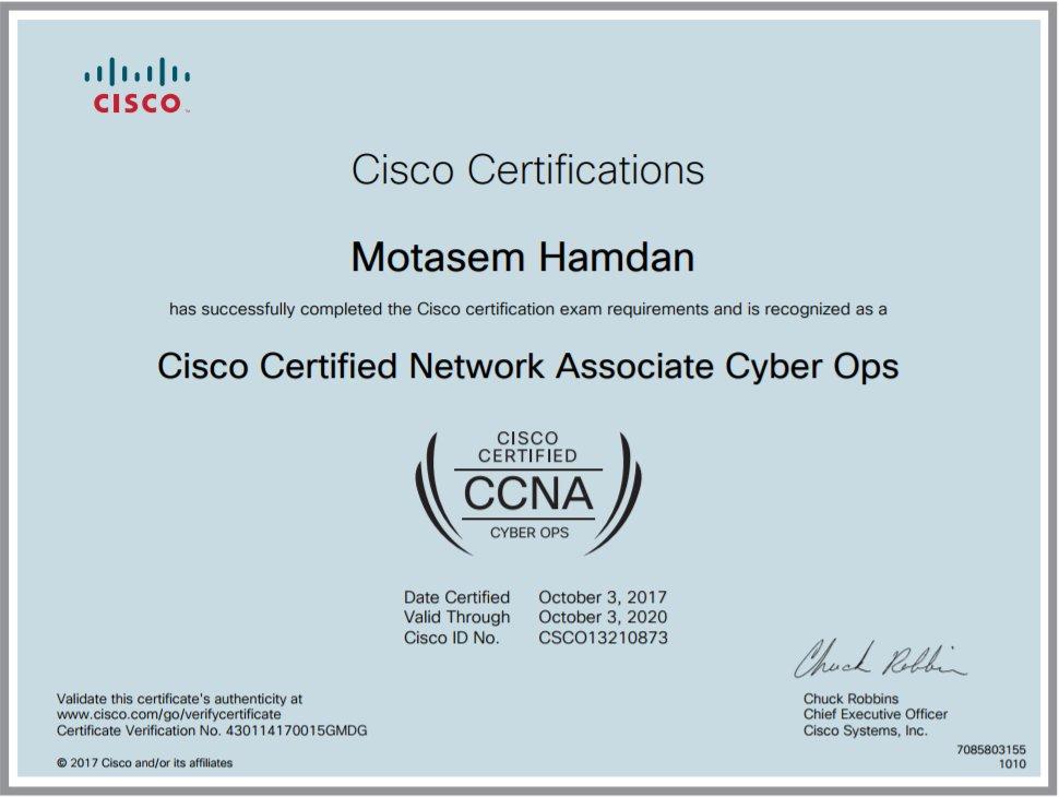 Motasem Hamdan On Twitter Cisco Cyber Security