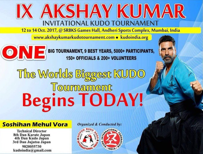 9th Akshay Kumar Invitational Kudo Tournament 2017 begins today! Wishing everyone all the very best, just remember to play and have fun 👊🏻 https://t.co/FZxozLnbNy