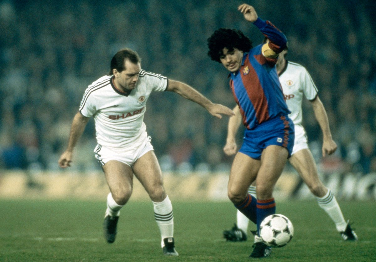Uefa Europa League On Twitter Throwbackthursday Manutd S Ray Wilkins Gets To Grips With Fcbarcelona S Maradona Uefa Cup 1984