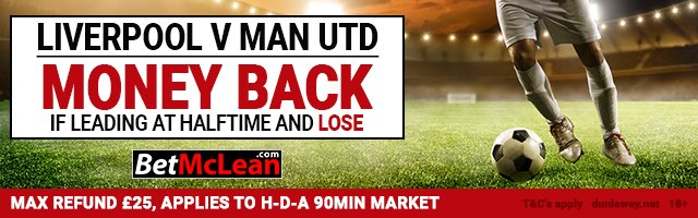 #Premier League - #Liverpool v #ManUtd Money Back as a #Free #Bet  if your team is leading at H/T but loses game.  http:// ow.ly/akaw30fNc4W  &nbsp;  <br>http://pic.twitter.com/VaFwrlRxl2