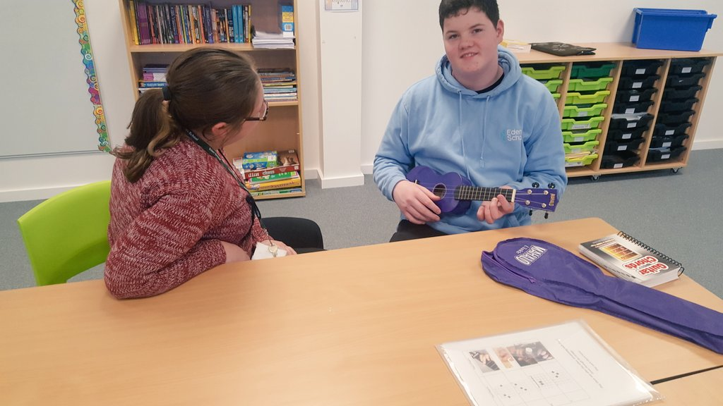 Someone enjoyed his Music lesson! @The_Eden_School  #happy #ukelele #music #creativity #newskills <br>http://pic.twitter.com/gDovlusVcv