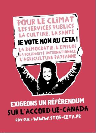 Parce que #CETA a des effets sur la santé, le climat, la démocratie... Nous sommes tous concernés et exigeons un référendum #ReferendumCETA pic.twitter.com/gfIRcS8DpE