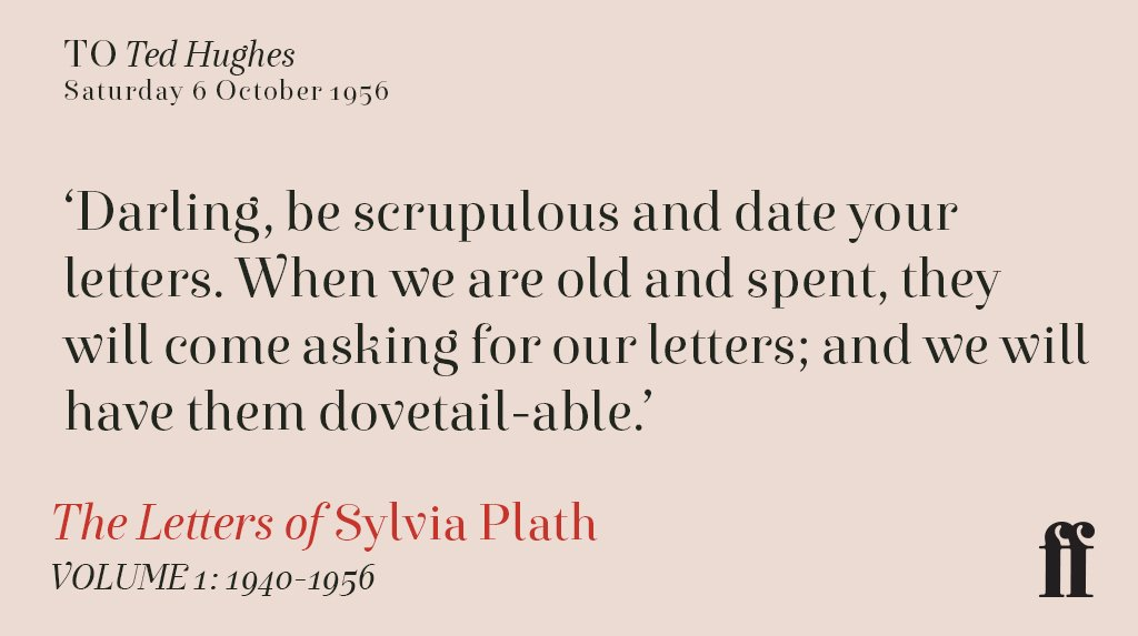 Saturday 6 October 1956. Sylvia Plath to Ted Hughes. https://t.co/EC5U...