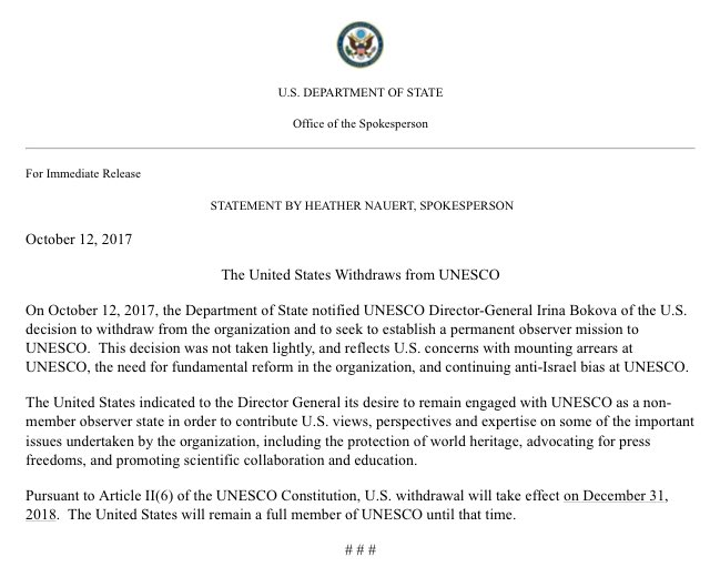 State Dept.: United States withdraws from UNESCO