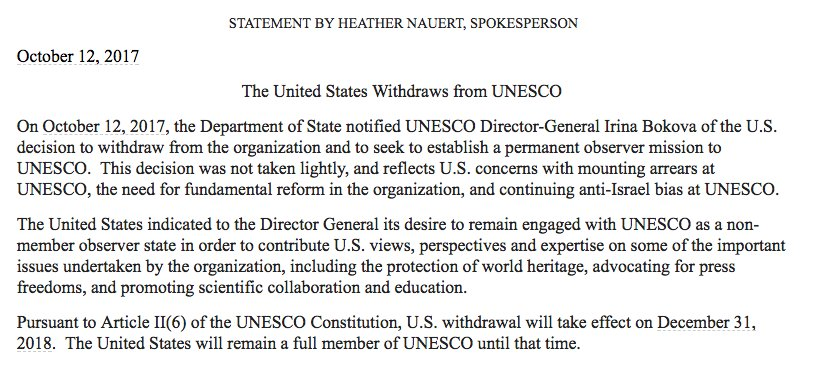 US to pull out of UNESCO, claiming agency has anti-Israel bias