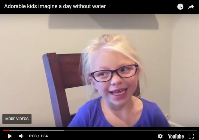 We asked kids to #imagineadaywithoutwater &amp; got an earful. It's cute, funny &amp; pretty serious. Watch:  http:// bit.ly/2kHZY3k  &nbsp;   #valuewater <br>http://pic.twitter.com/BAfBh9wPIL