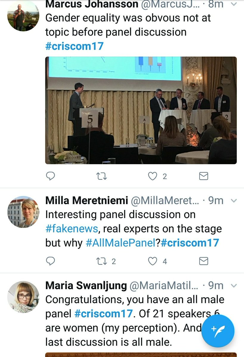 Absolutely sound criticism of male panel at #criscom17. Gender equality has been in focus prior t the conference, but here not good enough. <br>http://pic.twitter.com/1RMHBuhl0H