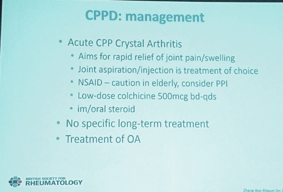 Management of acute CPPD crystal #arthritis #pseudogout via Dr Ed Roddy #BSRaut17 #rheumedu <br>http://pic.twitter.com/CXZ0fCRHhI