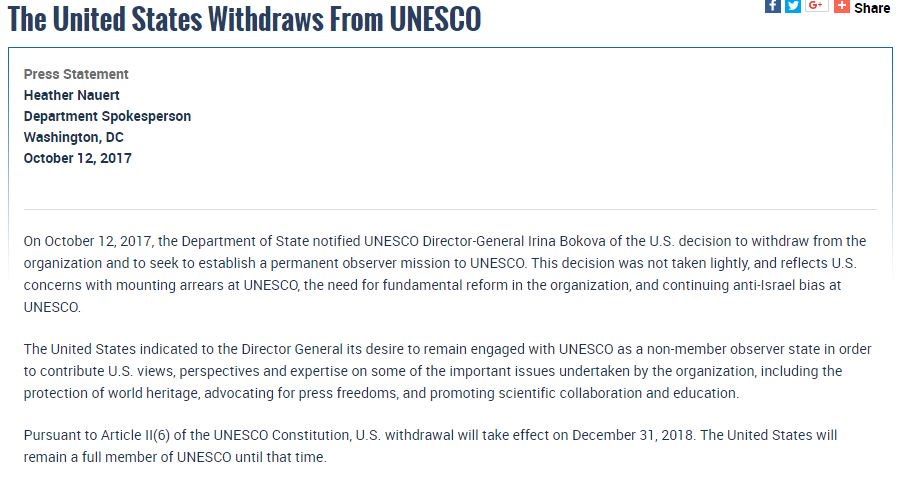 JUST IN: #Trump administration is withdrawing from #UNESCO, the UN cultural organization, citing &quot;anti-Israel bias&quot; #LiveDesk<br>http://pic.twitter.com/XGsbrPXE7c