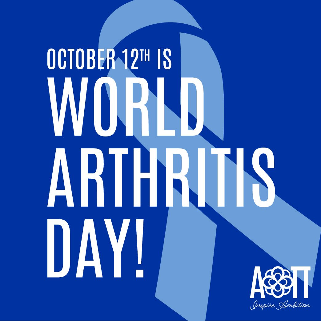 Don't forget to wear blue or a blue ribbon today for World Arthritis Day! https://t.co/tmOr7D3oSh