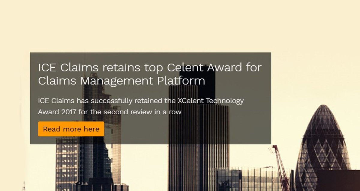 ICE #Claims beats 16 EMEA vendors to win top XCelent Technology Award @Celent_Research #insurance  http:// ow.ly/WPHR30fPtZm  &nbsp;  <br>http://pic.twitter.com/L8TCeVd1JQ