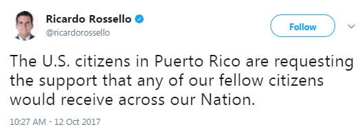 Puerto Rico gov after Trump tweets: 'U.S. citizens in Puerto Rico are requesting the support that any of our fellow citizens would receive'
