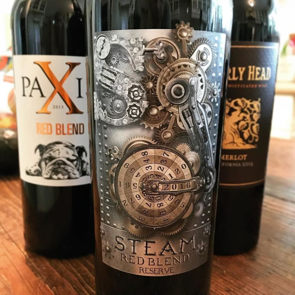 #Steampunk Awesome of the Day: 'Steam Red Blend Reserve' Bottle Label with Gears via @stamptramp #SamaCuriosities