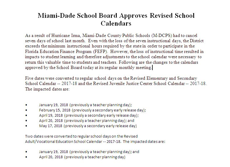 Marta Perez On Twitter Miami Dade School Board Approves Revised