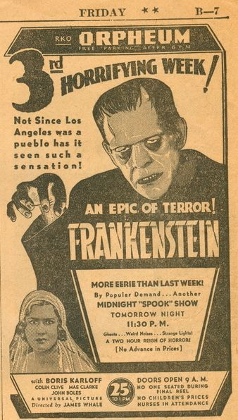 #rare and amazing black and white 1931 #Frankenstein ad &quot;An Epic of Terror&quot; from the original release - ticket price: 25c<br>http://pic.twitter.com/82ETbitNxH