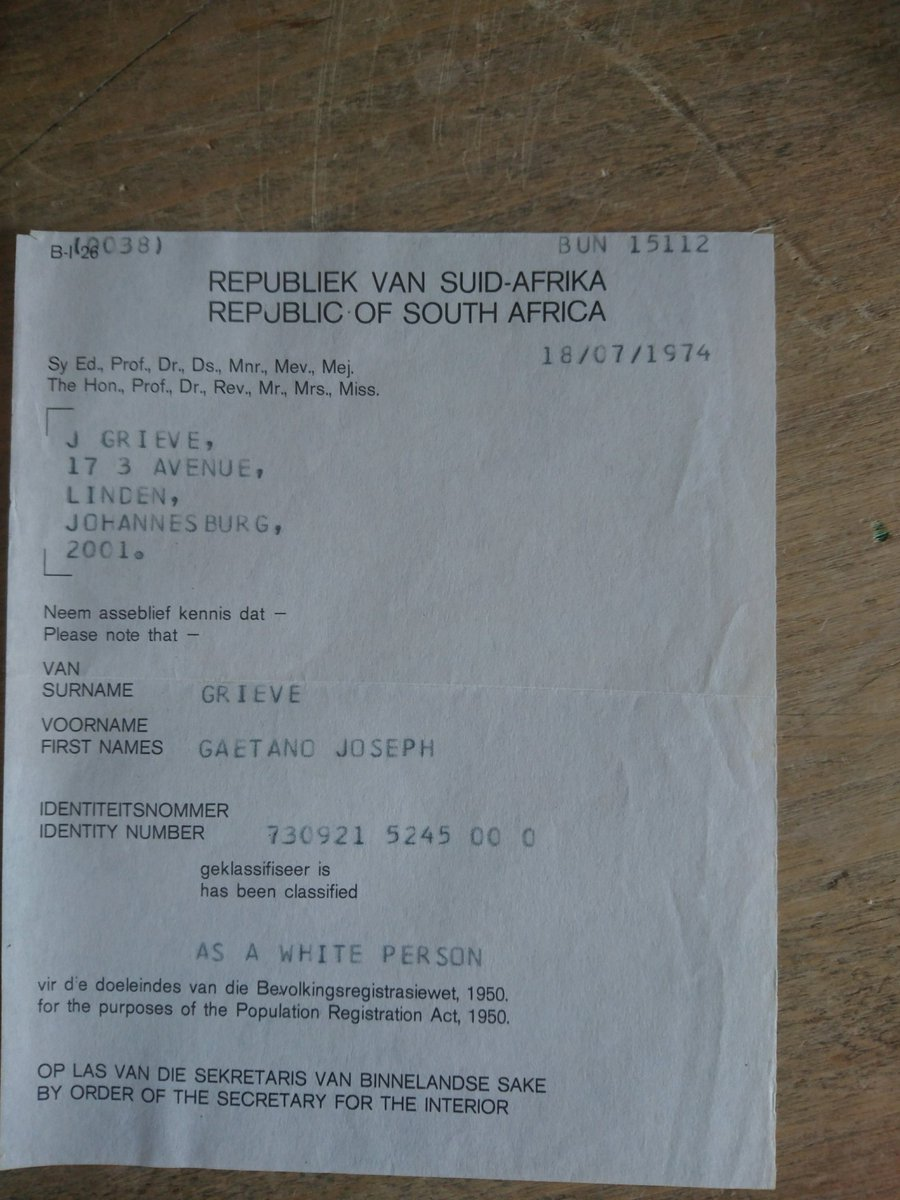 Ethical shellfish co on twitter my south african birth ethical shellfish co on twitter my south african birth certificate notice what im classified as apartheid xflitez Choice Image