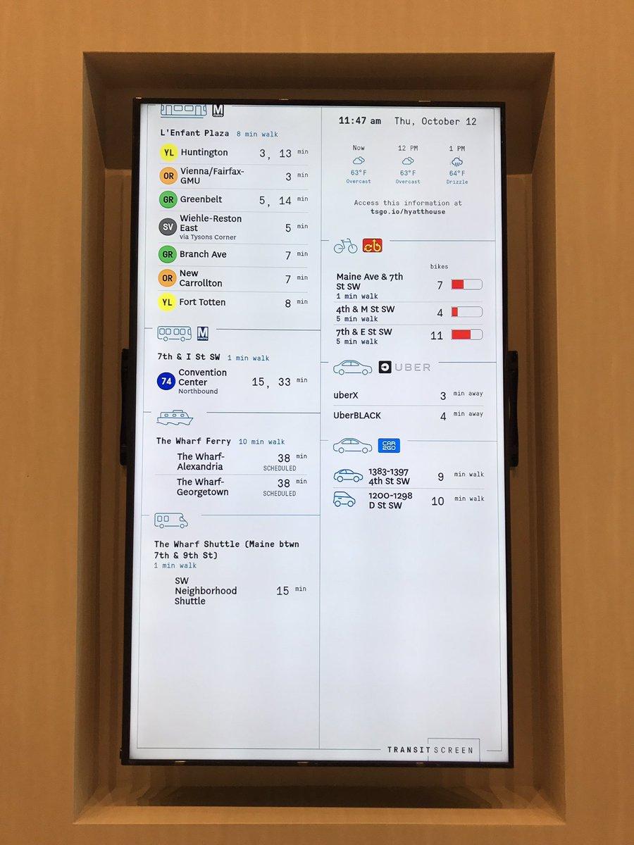 Transit screen at Hyatt Place #WharfDC #bikedc<br>http://pic.twitter.com/4S1nOt8b16