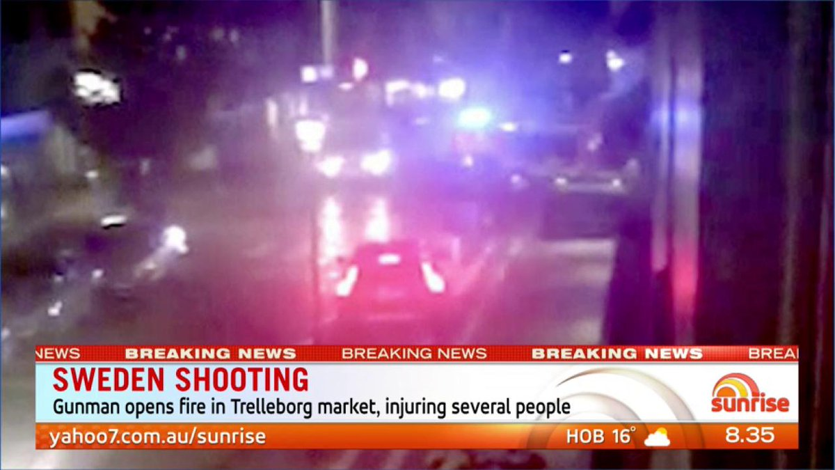 Shooting in Sweden where a gunman has opened fire in a market injuring several people. #sweden #7News https://t.co/CA4aaavTSZ