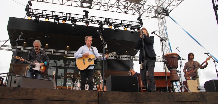 Live on stage! The @baconbros help welcome #WharfDC with a free concert at District Pier for our Kickoff Celebration. <br>http://pic.twitter.com/1TNbWaG5V2
