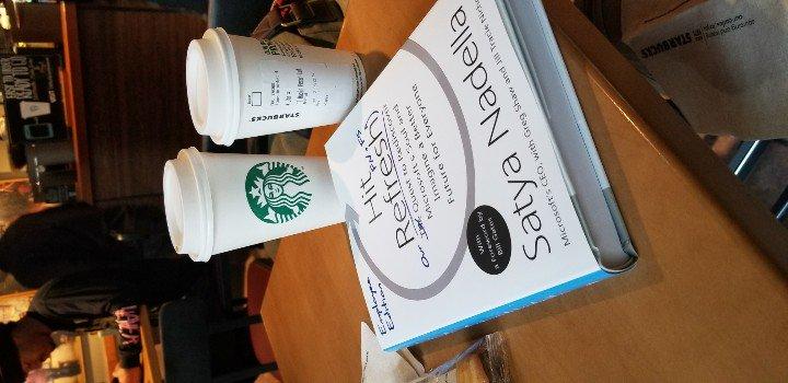. @starbucks after the @microsoftalumni reunion. Took my copy of @satyanadella&#39;s book, told them Kevin sent me; paid full price. #msftalum <br>http://pic.twitter.com/MZUjthk7Qi