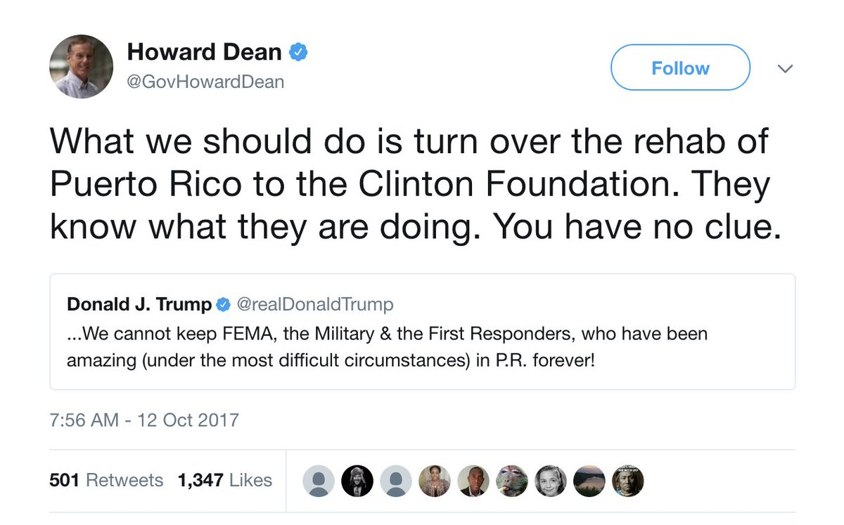 Howard Dean to Trump: Put the Clinton Foundation in charge of Puerto Rico recovery https://t.co/zNllMPbrgE