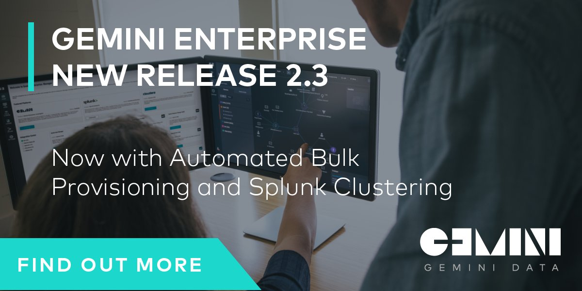 Gemini Enterprise Manager 2.3 is here! with Automated Bulk/Mass Appliance Provisioning, #Splunk #Clustering &amp; more  http:// bit.ly/2xAQr4q  &nbsp;  <br>http://pic.twitter.com/e1dWH6lC8F