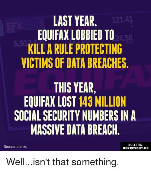 #Equifax gets hacked AGAIN  Sure hope they rescind that new big fat Gov contract they just got!!! @realDonaldTrump<br>http://pic.twitter.com/c7h9742Zyv
